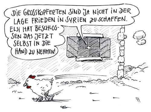 Cartoon: friedensstifterin (medium) by Andreas Prüstel tagged syrien,krieg,eskalation,großmächte,diplomatie,huhn,cartoon,karikatur,andreas,pruestel,syrien,krieg,eskalation,großmächte,diplomatie,huhn,cartoon,karikatur,andreas,pruestel
