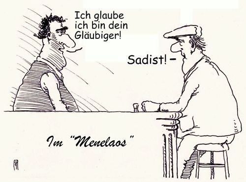 Cartoon: gläubiger (medium) by Andreas Prüstel tagged griechenlaqnd,schuldenkrise,eu,euro,europa,wirt,gast,restaurant,gläubiger,sadist,varofakis,ausspruch,menelaos,cartoon,karikatur,andreas,pruestel,griechenlaqnd,schuldenkrise,eu,euro,europa,wirt,gast,restaurant,gläubiger,sadist,varofakis,ausspruch,menelaos,cartoon,karikatur,andreas,pruestel