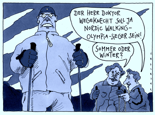 Cartoon: herr wegeknecht (medium) by Andreas Prüstel tagged nordic,walking,olympia,olympiasieger,cartoon,karikatur,andreas,pruestel,nordic,walking,olympia,olympiasieger,cartoon,karikatur,andreas,pruestel