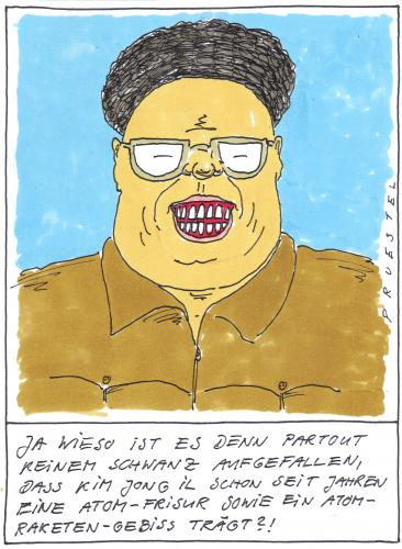Cartoon: kim (medium) by Andreas Prüstel tagged nordkorea,atomversuche