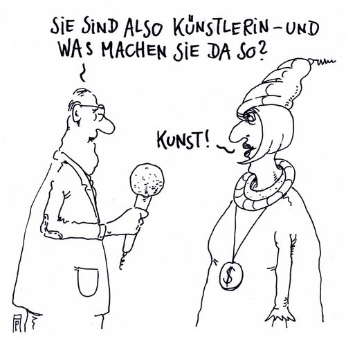 Cartoon: künstlerin (medium) by Andreas Prüstel tagged kunst,künstlerin,interview,cartoon,karikatur,andreas,pruestel