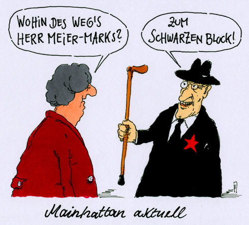 Cartoon: mainhattan ezb (medium) by Andreas Prüstel tagged ezb,frankfurt,mainhattan,blockuoy,schwarzer,block,euro,europa,proteste,demonstration,cartoon,karikatur,andreas,pruestel,ezb,frankfurt,mainhattan,blockuoy,schwarzer,block,euro,europa,proteste,demonstration,cartoon,karikatur,andreas,pruestel