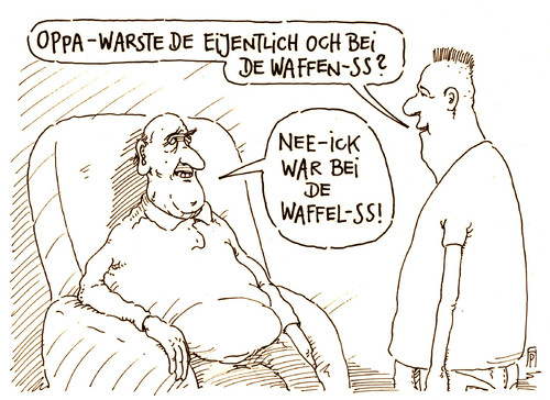 Cartoon: nachfrage (medium) by Andreas Prüstel tagged faschismus,nazizeit,ss,waffenss,großvater,opa,enkel,generationen,waffel,cartoon,karikatur,andreas,pruestel,faschismus,nazizeit,ss,waffenss,großvater,opa,enkel,generationen,waffel,cartoon,karikatur,andreas,pruestel