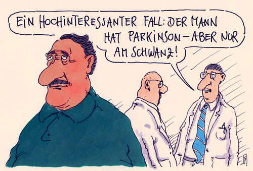 Cartoon: parkinson (medium) by Andreas Prüstel tagged arzt,patient,erkrankung,parkinson,schwanz,fall,cartoon,karikatur,andreas,pruestel,arzt,patient,erkrankung,parkinson,schwanz,penis,fall,cartoon,karikatur,andreas,pruestel