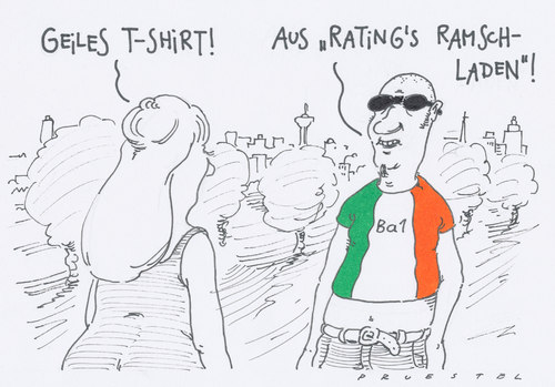 Cartoon: ramschrating (medium) by Andreas Prüstel tagged ratings,ratingagenturen,staatsverschuldung,irland,moodys,ratings,ratingagenturen,staatsverschuldung,moodys,irland