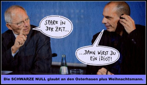 Cartoon: schwarze null (medium) by Andreas Prüstel tagged schäuble,varoufakis,finanzminister,griechenland,deutschland,sparen,spruch,cartoon,collage,andreas,pruestel
