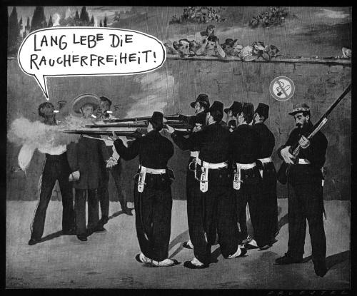 Cartoon: strafe muß sein! (medium) by Andreas Prüstel tagged rauchverbot,manet