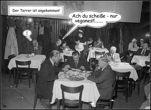 Cartoon: terror (medium) by Andreas Prüstel tagged terror,vegan,essen,cartoon,collage,andreas,pruestel,terror,vegan,essen,cartoon,collage,andreas,pruestel
