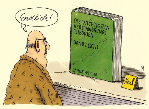 Cartoon: verschwörungen (medium) by Andreas Prüstel tagged verschwörungstheorien,fachliteratur,fachbuch,buchhandel,cartoon,karikatur,andreas,pruestel,verschwörungstheorien,fachliteratur,fachbuch,buchhandel,cartoon,karikatur,andreas,pruestel
