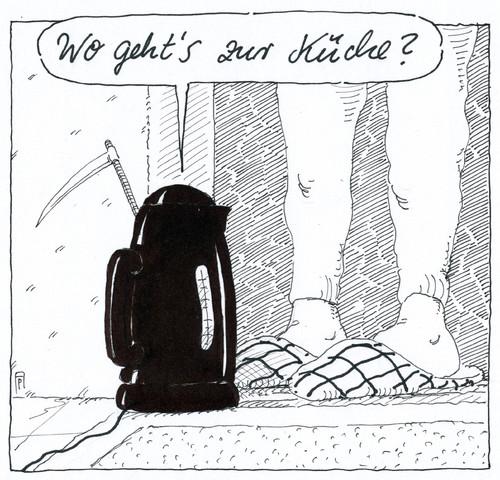 wasserkocher von Andreas Prüstel  Philosophie Cartoon  ~ Wasserkocher English