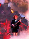 Cartoon: angus young (small) by Andreas Prüstel tagged acdc,angus,young,leadgitarist,songwriter,energie