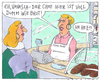 Cartoon: backwaren (small) by Andreas Prüstel tagged bäckerei,brot,verkäuferin,chef