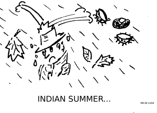 Cartoon: Indian Summer (medium) by KRI-SE tagged mistwetter,wetter,jahreszeiten,indiansummer,herbst,oktober