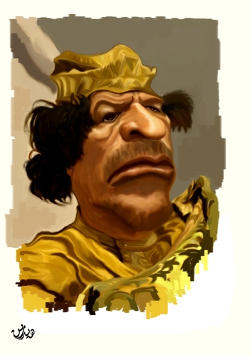 Cartoon: Muammer Gadaffi (medium) by handren khoshnaw tagged dictator,lybia,gadaffi,muammer,khoshnaw,handren