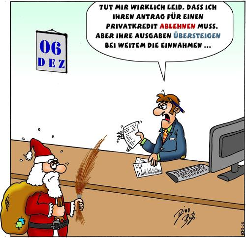 Cartoon: Peinliche Situation (medium) by Dino tagged bilanz,kapital,ausgaben,advent,weihnachten,nikolaus,sparkasse,bank,schufa,kredit,dino