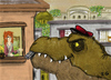 Cartoon: Paperboy (small) by ernesto guerrero tagged tyranosaurus