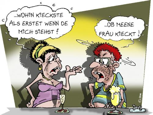 Cartoon: nach fraun kicken (medium) by sam tagged bunt,familie,lustig,man,frau,woman,character,sam,