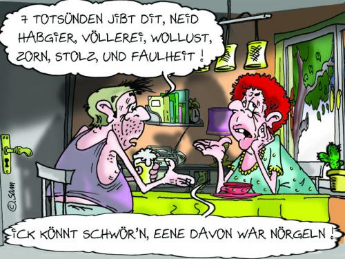 Cartoon: sieben totsünden (medium) by sam tagged liebe,mann,frau,sam,bunt,cartoon,woman,man,character,familie