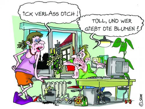 Cartoon: verlassen (medium) by sam tagged character,familie,sam,lustig,beziehung,bier,man