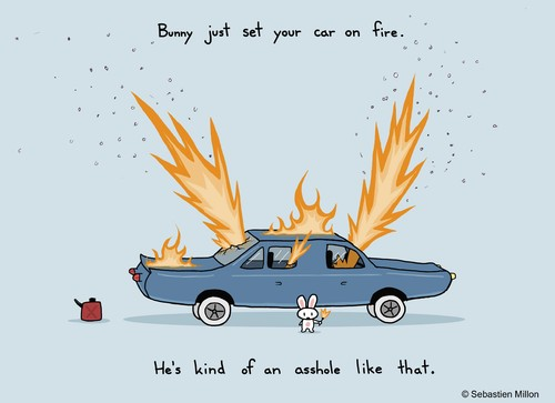 Cartoon: Your Car is on Fire (medium) by sebreg tagged silly,humor,rabbit,fun