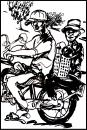 Cartoon: Vietnamise Xe Om mototaxi (small) by yalisanda tagged xe om asia vietnam mototaxi woman old man taxidriver black ink drawing