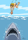 Cartoon: wow ! holiday ! (small) by FredCoince tagged shark,sea,holiday,humor