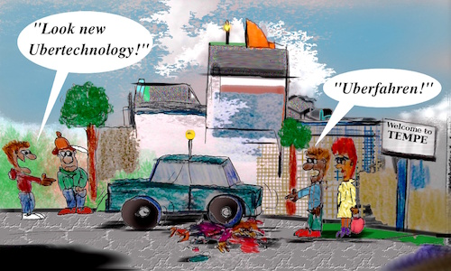 Cartoon: deadly future (medium) by ab tagged uber,car,selfdriving
