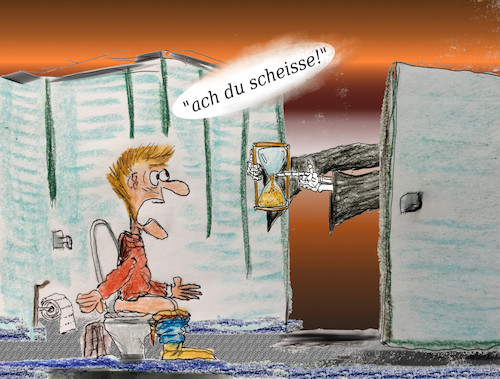 Cartoon: unerwartet (medium) by ab tagged wc,toilette,zeit,sanduhr,tod