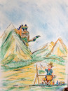 Cartoon: hobby (small) by ab tagged natur,berge,maler,aussicht,monster