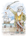 Cartoon: Turgut Reis-Dragut (small) by Tufan Selcuk tagged sailor,seaman,mariner,commander,navy