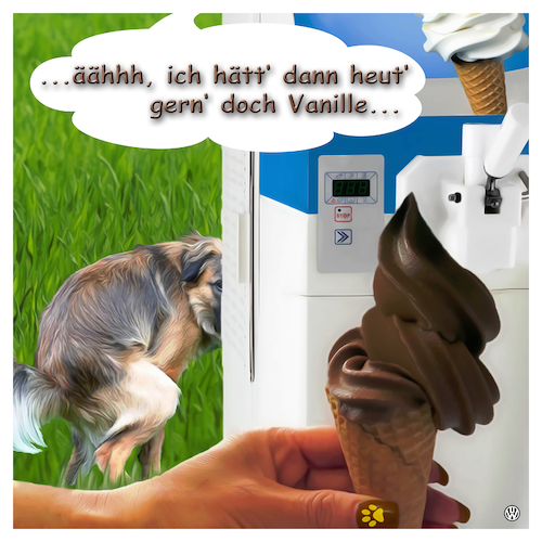 Cartoon: SOFT ice - HARD times (medium) by Night Owl tagged softeis,eis,eisdiele,schoko,eiscreme,hund,kacke,hundescheisse,appetit,wellness,soft,ice,cream,machine,dog,holy,shit