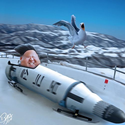 Cartoon: Bombsled (medium) by Bart van Leeuwen tagged olympics,kimjongun,korea,pyeongchang,nuke