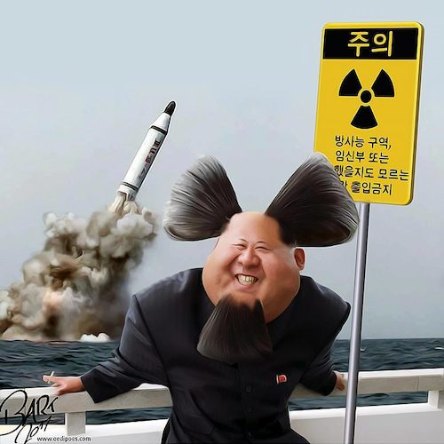 Cartoon: Nuclear Warhead (medium) by Bart van Leeuwen tagged kim,jong,un,north,korea,missile,trump
