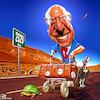 Cartoon: Frontrunner (small) by Bart van Leeuwen tagged bernie,sanders,democrats,election,2020,frontrunner