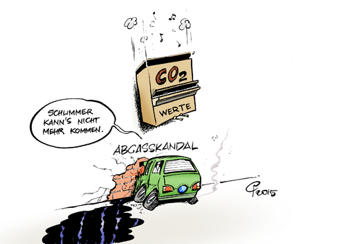 Cartoon: CO2-Werte (medium) by Paolo Calleri tagged deutschland,wolfsburg,abgasskandal,co2,kohlendioxid,werte,ausstos,manipulationen,stickoxid,volkswagen,vw,aktien,boerse,automobil,automobilhersteller,karikatur,cartoon,paolo,calleri,deutschland,wolfsburg,abgasskandal,co2,kohlendioxid,werte,ausstos,manipulationen,stickoxid,volkswagen,vw,aktien,boerse,automobil,automobilhersteller,karikatur,cartoon,paolo,calleri