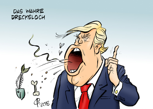 Cartoon: Drecksloch (medium) by Paolo Calleri tagged usa,praesident,donald,trump,laender,herkunftslaender,haiti,afrika,drecksloch,dreckslochlaender,entgleisung,beleidigung,rassismus,rassistisch,karikatur,cartoon,paolo,calleri,usa,praesident,donald,trump,laender,herkunftslaender,haiti,afrika,drecksloch,dreckslochlaender,entgleisung,beleidigung,rassismus,rassistisch,karikatur,cartoon,paolo,calleri