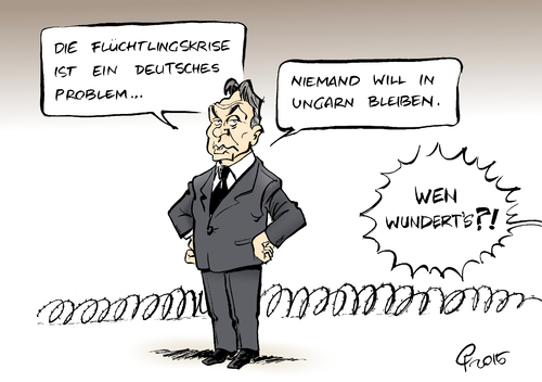 Cartoon: Flüchtlingskrise (medium) by Paolo Calleri tagged eu,deutschland,ungarn,viktor,orban,fluechtlinge,asyl,demokratie,grenzen,schengenabkommen,verteilung,einreise,abschottung,grenzzaun,karikatur,cartoon,paolo,calleri,eu,deutschland,ungarn,viktor,orban,fluechtlinge,asyl,demokratie,grenzen,schengenabkommen,verteilung,einreise,abschottung,grenzzaun,karikatur,cartoon,paolo,calleri