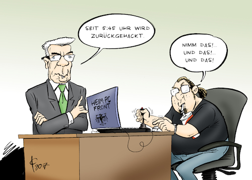 Cartoon: Hack Back (medium) by Paolo Calleri tagged deutschland,bundesregierung,bundesinnenministerium,innenminister,thomas,de,maiziere,cyberangriffe,angriffe,stromnetz,bundestagsnetzwerk,computer,hacker,gegenangriff,karikatur,cartoon,paolo,calleri,deutschland,bundesregierung,bundesinnenministerium,innenminister,thomas,de,maiziere,cyberangriffe,angriffe,stromnetz,bundestagsnetzwerk,computer,hacker,gegenangriff,karikatur,cartoon,paolo,calleri