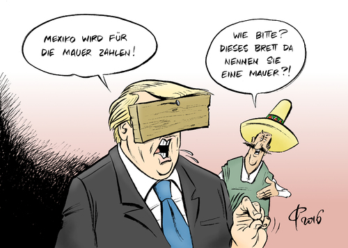 Mexiko-Mauer von Paolo Calleri | Politik Cartoon | TOONPOOL