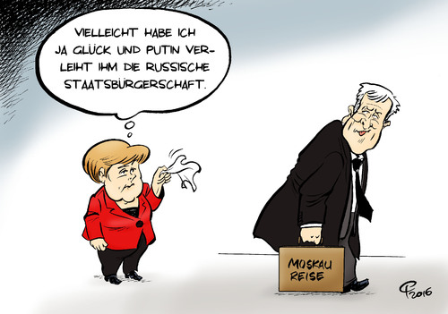 Cartoon: Seehofers Moskau-Reise (medium) by Paolo Calleri tagged deutschland,russland,bayern,cdu,csu,koalition,ministerpraesident,horst,seehofer,reise,moskau,treffen,putin,fluechtlinge,fluechtlingskrise,streit,kritik,wirtschaft,ukrainekrise,karikatur,paolo,calleri,deutschland,russland,bayern,cdu,csu,koalition,ministerpraesident,horst,seehofer,reise,moskau,treffen,putin,fluechtlinge,fluechtlingskrise,streit,kritik,wirtschaft,ukrainekrise,karikatur,paolo,calleri