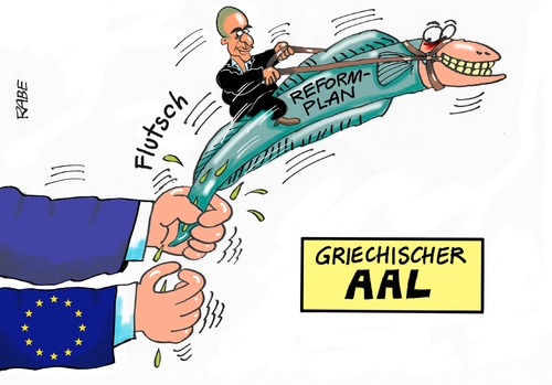Cartoon: Aalglatt (medium) by RABE tagged griechenland,athen,austritt,eurozone,linksbündnis,rabe,ralf,böhme,cartoon,karikatur,pressezeichnung,farbcartoon,tagescartoon,syriza,tsipras,ezb,brüssel,schuldenschnitt,aal,schleim,reformpläne,varoufakis,finanzchefs,finanzminister,griechenland,athen,austritt,eurozone,linksbündnis,rabe,ralf,böhme,cartoon,karikatur,pressezeichnung,farbcartoon,tagescartoon,syriza,tsipras,ezb,brüssel,schuldenschnitt,aal,schleim,reformpläne,varoufakis,finanzchefs,finanzminister