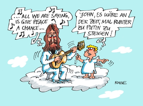 Cartoon: Give Peace Variante Zwei (medium) by RABE tagged frieden,peace,friedensverhandlung,john,lennon,wolke,himmel,engel,merkel,hollande,putin,poroschenko,minsk,ukraine,ukrainekrise,rabe,ralf,böhme,cartoon,karikatur,pressezeichnung,farbcartoon,tagescartoon,friedensgespräche,moskau,nato,obama,usa,separatisten,russland,frieden,peace,friedensverhandlung,john,lennon,wolke,himmel,engel,merkel,hollande,putin,poroschenko,minsk,ukraine,ukrainekrise,rabe,ralf,böhme,cartoon,karikatur,pressezeichnung,farbcartoon,tagescartoon,friedensgespräche,moskau,nato,obama,usa,separatisten,russland