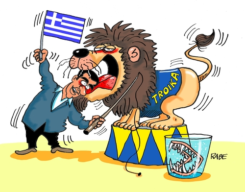 Cartoon: Grieche nochmal (medium) by RABE tagged griechenland,athen,austritt,eurozone,linksbündnis,rabe,ralf,böhme,cartoon,karikatur,pressezeichnung,farbcartoon,tagescartoon,syriza,tsipras,ezb,brüssel,schuldenschnitt,troika,finanzminister,zirkus,löwe,domptuer,gebiss,griechenland,athen,austritt,eurozone,linksbündnis,rabe,ralf,böhme,cartoon,karikatur,pressezeichnung,farbcartoon,tagescartoon,syriza,tsipras,ezb,brüssel,schuldenschnitt,troika,finanzminister,zirkus,löwe,domptuer,gebiss