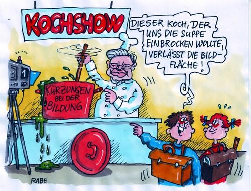 Kochs kochshow von rabe politik cartoon toonpool for Koch 3 lehrjahr gehalt