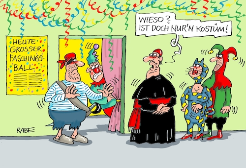 Cartoon: Maskenball (medium) by RABE tagged papst,kirche,rom,vatikan,kinder,kindesmissbrauch,chorknaben,katholiken,beichte,beichtstuhl,rabe,ralf,böhme,cartoon,karikatur,pressezeichnung,farbcartoon,tagescartoon,bischof,kardinal,pädophilie,fasching,karneval,köstum,kostümball,einlaß,einlaßdienst,maske,papst,kirche,rom,vatikan,kinder,kindesmissbrauch,chorknaben,katholiken,beichte,beichtstuhl,rabe,ralf,böhme,cartoon,karikatur,pressezeichnung,farbcartoon,tagescartoon,bischof,kardinal,pädophilie,fasching,karneval,köstum,kostümball,einlaß,einlaßdienst,maske