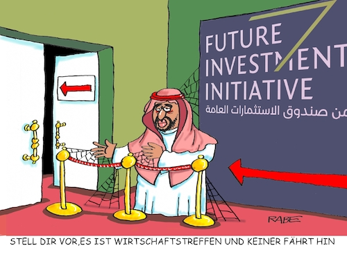 Cartoon: Riad Wirtschaftstreffen (medium) by RABE tagged saudi,arabien,scheichs,wüste,wirtschaftstreffen,absage,investoren,rabe,ralf,böhme,cartoon,karikatur,pressezeichnung,farbcartoon,tagescartoon,saudies,siemens,kaeser,khashoggi,mord,saudi,arabien,scheichs,wüste,wirtschaftstreffen,absage,investoren,rabe,ralf,böhme,cartoon,karikatur,pressezeichnung,farbcartoon,tagescartoon,saudies,siemens,kaeser,khashoggi,mord