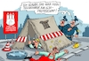 Cartoon: Camp nochmal (small) by RABE tagged hamburg,sturmflut,zwanzig,gipfel,militante,linke,linksextremisten,rabe,ralf,böhme,cartoon,karikatur,pressezeichnung,farbcartoon,tagescartoon,welle,gewalt,innenminister,protest,protestcamp,gipfelgegner,schlagstock,bauzelt,kanalarbeiter