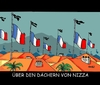 Cartoon: Nizza Terror (small) by RABE tagged nizza,frankreich,attentat,terroranschlag,hollande,is,islamisten,strandpromenade,rabe,ralf,böhme,cartoon,karikatur,pressezeichnung,tagescartoon,staatstrauer,halbmast,terrorgefahr,dach,dächer,film,usa,hitchkock,alfred,juwelendieb,palmen,strand,anschlag,prom