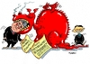 Cartoon: Roter Drachen (small) by RABE tagged china,peking,wirtschaftsbesuch,wirtschaftsminister,gabriel,spd,irritationen,investitionen,raubkopein,konjunktur,rabe,ralf,böhme,cartoon,karikatur,pressezeichnung,farbcartoon,tagescartoon,drachenrot,dompteur,rachen,chinese,schwanz,tritt,marktzugang,wettbew