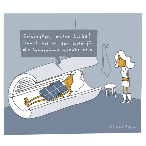 Cartoon: Investition (medium) by Schilling  Blum tagged sonnenbank,solar,investition